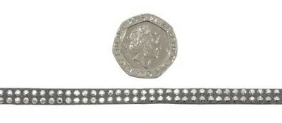 Mini Diamante Studs Silver Grey 5mm Faux Suede Trimming 5 Lengths