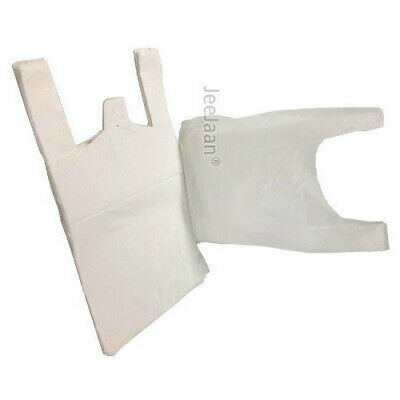 """100 x WHITE PLASTIC VEST CARRIER BAGS 10x15x18"""" SMALL STRONG 15MU *OFFER*"""