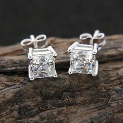 Real 14K White Gold 2 Ct Princess Cut Solitaire Diamond Stud Earrings