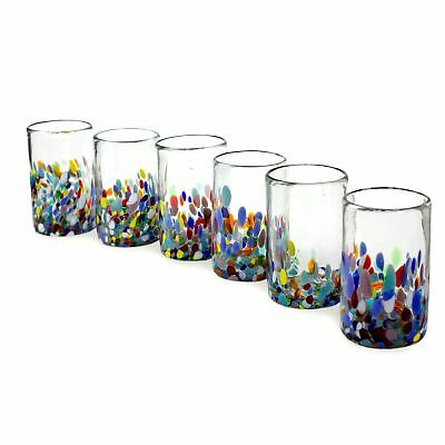 NOVICA Artisan Crafted Recycled Hand Blown Glass Water Glasses, Multicolor,...