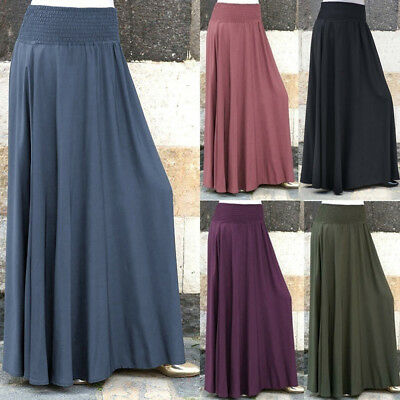 Women Lady Elastic Waist Solid Pleated Skirt Vintage A-line Loose Long Skirts AU