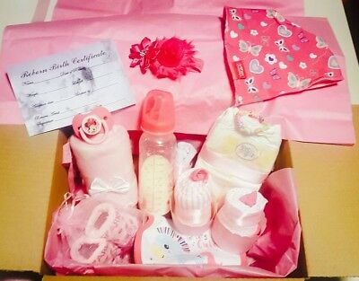 Reborn Baby Girl Doll Accesories Gift Box Opening 15 Accessories + Surprise Gift