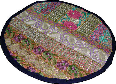 """Table mat/place-mat solid round throw multicolor embroider sari patch work 13"""""""