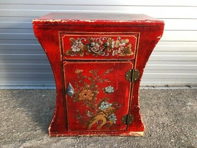 Decorative Red Antique Small Japanese Cabinet, Oriental Bedside/Side Cabinet