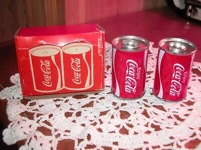 Vintage Coca Cola Salt And Pepper Tin Cans With Original Box