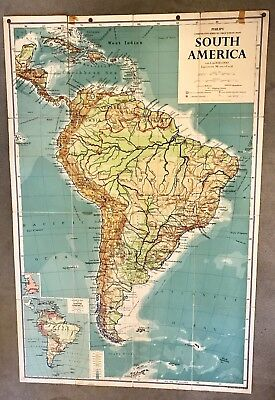 XLarge Cotton Backed Wall Map of South America 1959