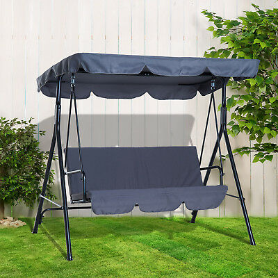 Outsunny Hammock Swing Chair 3-Seater Patio Bench Garden Grey Outdoor