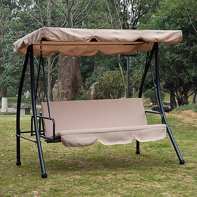 Outsunny 2-in-1 Patio Swing Chair 3 Seater Hammock Cushion Bed Tilt Canopy