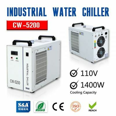 S&A CW-5200DH Industrial Water Chiller 130-150W CO2 Glass Laser Tube Cooling