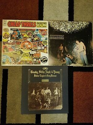 3 Classic rock album covers, CSNY, Joplin and Steppenwolf VG plus, COVERS ONLY!