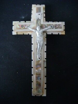 RRR RARE ANTIQUE MOTHER-OF-PEARL and WOOD JERUSALEM CROSS CRUCIFIX