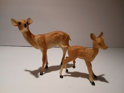 Lot of 2 Vintage Hard Plastic Doe and Fawn Made in Hong Kong #651