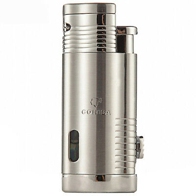 COHIBA Stainless Steel Windproof Cigarette Jet 3 Torch Flame Cigar Lighter