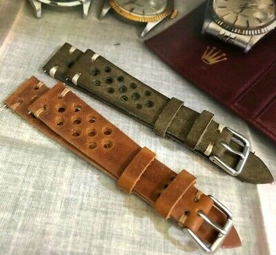 18 20 22mm Vintage Genuine Calf Leather Rally Racing Watch Strap H/M Amber Brown