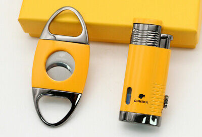 COHIBA Mens Gadgets Gray Metal Windproof 2 Flame Jet Torch Cigar Lighter