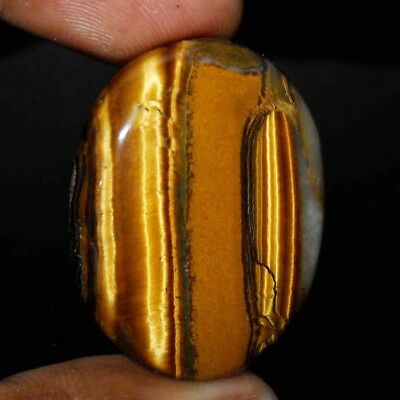 58 Cts Natural Yellow Tiger Eye Oval Loose Gemstone Cushion Cab Size-31X25X8 Mm.