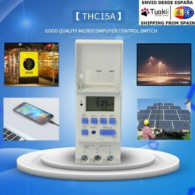 Timer Time Relay Digital LCD Switch DIN Programmable Rail AC 220V 16A THC15A