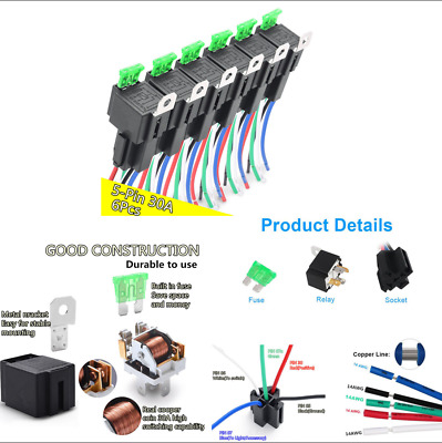 6x Car 12V 5-Pin 30A Fuse Relay Switch Harness Kit with 30A ATO/ATC Blade Fuse