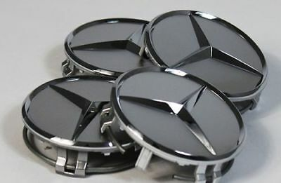 4x New Mercedes Anthracite Alloy Wheel Centre Hubs Caps 75mm with Chrome Star