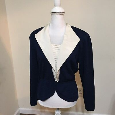 St John Collection Marie Gray Blue Knit Zip Back Collard  Size 10 Pleated Top