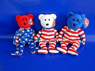 """LIBERTY RED WHITE BLUE HEAD TY BEANIE BABY BEAR PATRIOTIC 3PC LOT 8.5"""" inch MWMT"""