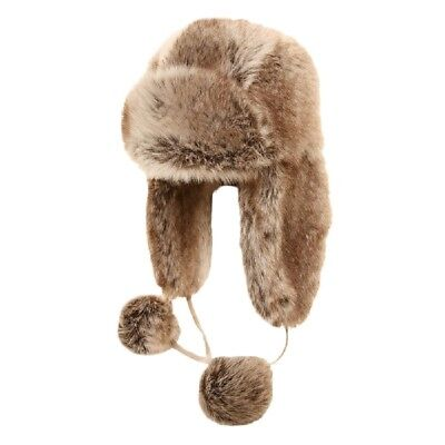 Kids Winter Hat Childs Trapper Brown Faux Fur Ski Russian Ushanka With Pom Poms