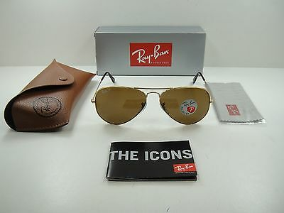 147f17028a1 Ray-Ban Aviator Polarized Sunglasses Rb3025 001 57 Gold Frame brown Lens