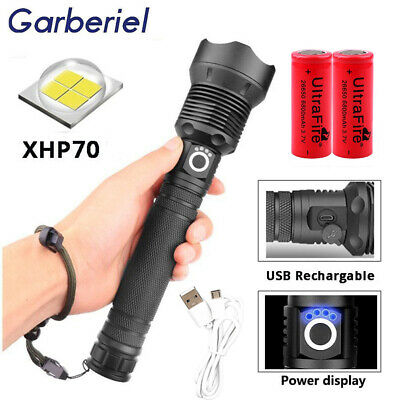 500000 Lumens Zoomable XHP70 LED USB Rechargeable 18650 Flashlight Super Bright