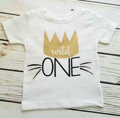 1St Birthday Wild One Boys Girls T-Shirt With Gold Crown Size 0 | 12 Months