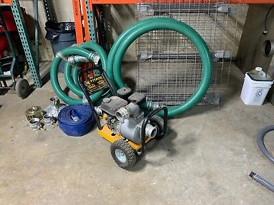 """Titan Heavy Duty Commercial Trash Pump 3"""" With Hoses Suction & Discharge Hose"""