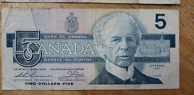 Canada 1986 Circ 5 Dollars Banknote Paper Money Currency  E-6