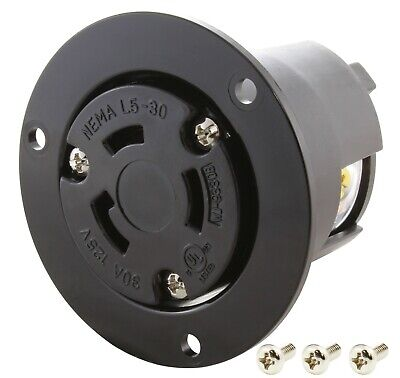 30 Amp NEMA L5-30R Locking Flanged Power Outlet by AC WORKS®