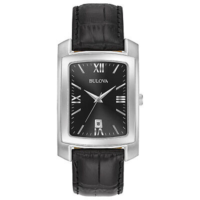 Bulova Classic Men's Quartz Black Dial Black Leather Strap 47mm Watch 96B269