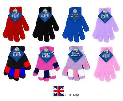 Kids MAGIC GLOVE Pair Winter Warm Girls Boys Stretch Soft Children Unisex NEW UK