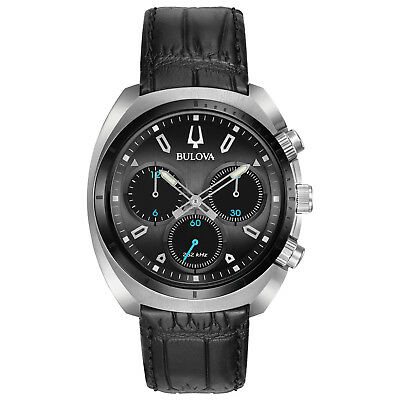 Bulova Men's Curv Collection Chronograph Black Leather Strap 43mm Watch 98A155