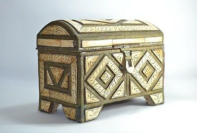 Antique engraved moroccan copper camel bone box islamic old Art Original Carved