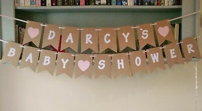 Personalised Baby Shower Bunting Banner Any Name Pink/Blue
