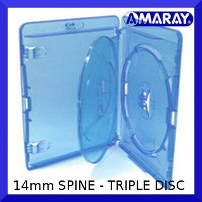 14mm AMARAY Replacement Blu-Ray Case Triple (holds 3 discs) - NEW