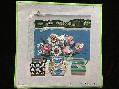 """Melissa Shirley Hand-painted Needlepoint Canvas """"Passion Flowers & Birds""""/SG"""