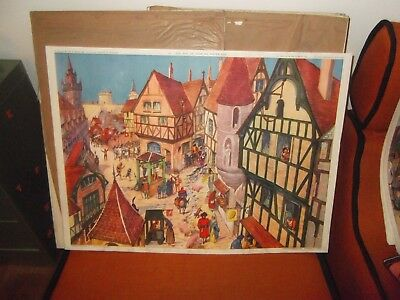 superbe ancienne affiche scolaire rossignol 76x56MOYEN AGE CATHEDRALE