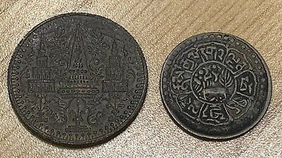 1862 1/8 Fuang Thailand & Ancient Thailand Coin. VERY RARE & EXOTIC 2 Coin Set