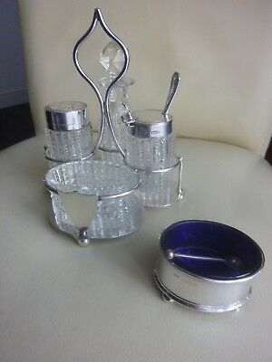 Antique Sterling Silver & Glass Cruet Condiment Set approx 220grams hallmark1913