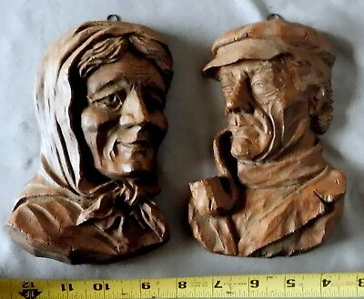 Antique vtg carved wood wall sculpture woman man smoking pipe black forest pair