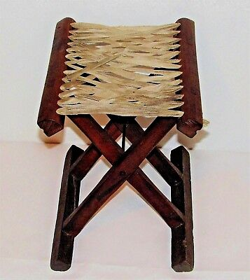 "Chinese Teak Traveling Seat / Fold-Up Chair / c.1900-1940 / 12"" w x 9"" d x 11""h"