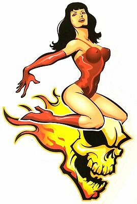 ROCKABILLY Pinup Queen BETTIE PAGE ON FLAMING Skull HOTROD Sticker TOOLBOX Decal