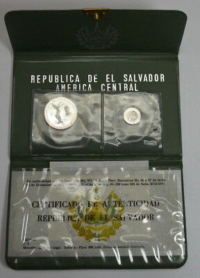 1971 Republica De El Salvador Silver 1&5 Colones Proof Two Coins Set Rare w/ CoA