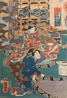 UTAGAWA Kuniteru / JAPANESE WOODBLOCK PRINT / Winter Pleasures 1853 / ORIGINAL