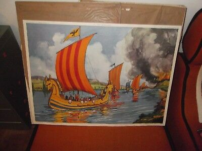 superbe ancienne affiche scolaire rossignol 76x56LES NORMANDS CHATEAU FORT