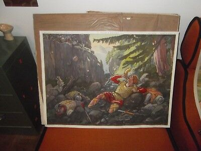 superbe ancienne affiche scolaire rossignol 76x56ROLANDRONCEVAUX CHARLEMAGNE