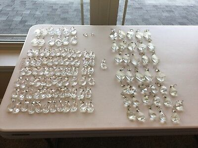 Huge Lot Vintage Antique 124 Hanging Chandelier Glass Crystals Prisms